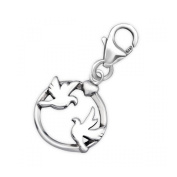 Silver Couple Bird Charm with Lobster