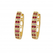 Yazilind 18K Gold Plated Cubic Zirconia Hollow Hoop Huggies Earrings for Women Jewellery Gift