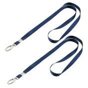 2 Pcs Dark Blue Nylon Neck Strap String Keys Holder Lanyard 41cm Long
