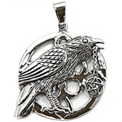 Solid Sterling Silver Raven Crow Wicca Pentagram Talisman Pendant P069