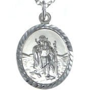 Large Oval Sterling Silver St Christopher Pendant with 46cm Chain