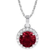 Stardust 1.35ct Ruby and Diamond Halo Silver Pendant