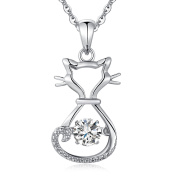 Sterling Silver Diamond Cat Pendant Necklace, Dancing CZ Diamond Cat Necklace, Moving Diamond Cat Pendant, Cute Cat Necklace For Women Girl, 46cm Silver Necklace