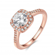 SanJiu Jewellery Women's Wedding Engagement Rings Round Rose Gold Plated with CZ Cubic Zirconia Promise Anniversary Engagement Charm Ring for Women Rose Gold