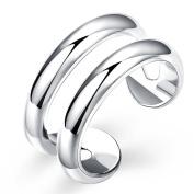 SavingMart Women Fashion Jewellery Silver Plated Double Line Thumb Rind Midi Knuckle Ring