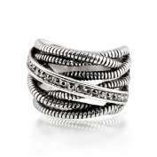 Purposefull Silver Entwined Twist Ring for Women - Crossover Entwined Ropes Ring - Ancient Silver