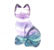 tanglz Beautiful Mystical Magical Cat Carved in Fluorite Stone . with Tracking