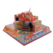 MonkeyJack Collectible Merry Town City Tram Trolley Wind Up Tin Toys wi/ Key Home Decor