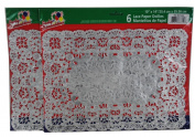 Lot of 12 Silver Rectangular Doilies Lace Paper 25cm x 36cm