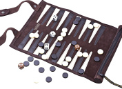 Luxury Leather Hand Stitched Backgammon Set - Travel Roll up Backgammon By Jaques of London