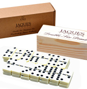 Club Double Six Dominoes Set in a Wooden Slide Lid Box - Jaques of London