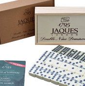 Club Double Nine Dominoes Set in a Wooden Slide Lid D9 Box - Jaques of London