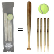 Wooden Rounders Bat and Ball Set by Laeto Toys and Games Ideal for Kids Beach Games