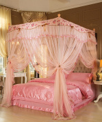 Living room curtains bedroom curtains Floor Style Princess Mosquito Net Square Top Three Doors Open Foldable Thick Stainless Steel Mosquito Net Continental curtain cotton curtains