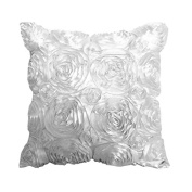 Kicode Square 3D Rose Floral Embroidery Cushion Cover For Bedroom Sofa Couch Chair Back Seat