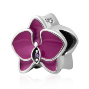 Orchid with Cz Stone and Enamel Charm 925 Sterling Silver Flower Charm Lucky Charm for DIY Charms Bracelet