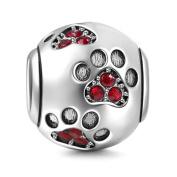 925 Sterling Silver Dog Charm Paw Charm Pet Charm Animal Charm Anniversary Charm Christmas Charm for Pandora Charms Bracelet