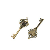 Price per 10 Pieces Jewellery Making Supply Charms Findings Filigrees P2AX3C Heart Skeleton Key Antique Bronze Findings Beading Craft Supplies Bulk Lots