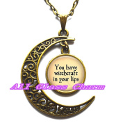 "Delicate Moon Necklace,Crescent Moon Jewellery,Quote ""You have witchcraft in your lips."" Quote necklace Quote pendant"