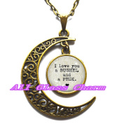 Delicate Moon Necklace,Crescent Moon Jewellery,I love you a bushel and a peck - pendant necklace - gift for loved one - quaint quote