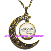"Delicate Moon Necklace,Crescent Moon Jewellery,Quote ""I would always rather be happy than dignified."" Book Jewellery"