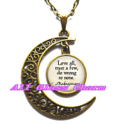 "Delicate Moon Necklace,Crescent Moon Jewellery,Quote ""Love all, trust a few, do wrong to none."" Quote Necklace"