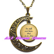 Delicate Moon Necklace,Crescent Moon Jewellery,Be still and know that I am God - Religious Jewellery - Scripture Pendant - Faith Jewellery - Religious Pendant Necklace - Faith Charms