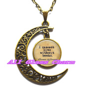 """Delicate Moon Necklace,Crescent Moon Jewellery,Book Lover Gift - quote """"I cannot live without books."""" - Gift for Book Lover - Book Pendant - Gift for Reader"""