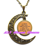 """Delicate Moon Necklace,Crescent Moon Jewellery,I chose the road less travelled and now I don't know where the hell I am."""""""
