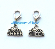 I love to Cheer clip on charm, cheerleading zipper pull, cheerleader clip on charm,Zipper Pull, Perfect for Necklaces, Bracelets , keychain and earrings