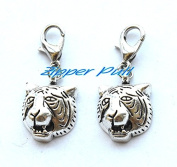 Tiger zipper pull - tiger charm zipper pull - zipper pull,Zipper Pull, Perfect for Necklaces, Bracelets , keychain and earrings