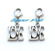 Silver Plated LOVE Zipper Pull - Clip-On Charm,Zipper Clasp, Zipper Pull, Bag Accessories, Purse Accessories
