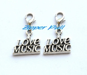 I Love Music Clip on Charm, I Love Music Purse Charm, Zipper Charm, Zipper Pull,Zipper Pull, Perfect for Necklaces, Bracelets , keychain and earrings