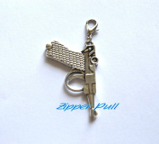 Gun Charm,Zipper Pull, Perfect for Necklaces, Bracelets , keychain and earrings