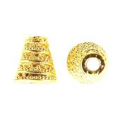 18K Gold Overlay Twisting Granulation Motif look Cone CG-185-10X8MM