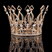 Santfe 10cm Height Luxury Full Crown Clear Rhinestone Crystal Silver/Gold Plated Tiara Pageant Bridal Prom Wedding Crown