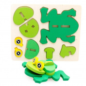 OVERMAL Montessori Mini 3D Puzzle Kids Educational Funny Toy Wooden Colourful Jigsaw Gift