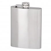 Thirsty Rhino Minum Stainless Steel Hip Flask, 240ml, Brushed Stainless Steel