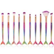 NEEDOON 10pcs Mermaid Makeup Eye Brush Set Cosmetic Eyeliner Eyeshadow Blending Blush Lip Fondation Concealer Brushes