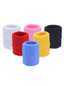 Mudder 6 Pieces Colourful Sports Wristband Basketball Football Wrist Sweatband Wrist Bands