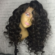 Kerrywigs Grade 8A Brazilian Hair Gluless Short Curly Full Lace Wigs For African Americans Wavy Lace Front Wigs 130 Density Baby Hair-50cm full lace wig
