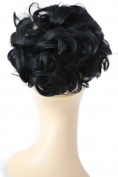 PRETTYSHOP BUN Up Do Hair Piece Hair Ribbon Ponytail Extensions Draw String Scrunchie wavy Black # 1 HK101
