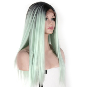 V'NICE Fashion Ombre Mint Green Wig Long Straight Synthetic Lace Front Wig Glueless Two Tone Black/Green Heat Resistant Hair Women Wigs