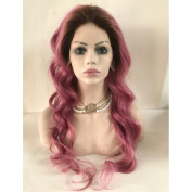 Kerrywigs Grade 8A Human Hair Stock Ombre Pink Glueless Wavy Lace Front Wig Medium Cap Transparent Lace Baby Hair `130 Density 60cm