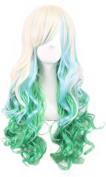 Long Wave Hair Wigs Colourful Lolita Style Anime Cosplay Party Costume Wig + a Free Hairnet (Beige + Light Green) 001BG