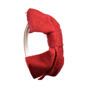 Wool Bow Headband - Dark Red