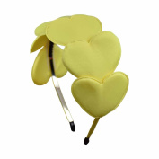 Headband with Plush Hearts - Yellow