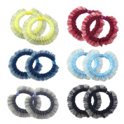 12pcs Colourful Lace Mini Scrunchies Elastic Ties Ponytail Holders for Women Girls-GX1256