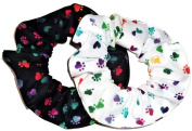 Rainbow Tie Dyed Dog Paw Prints Hair Scrunchies Set of 2 Ponytail Holders Black White handmade by Scrunchies by Sherry