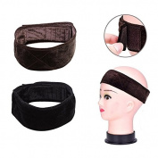 HUELE 2 Pack Velvet Wig Grip Band Adjustable Head Hair Band, Brown and Black